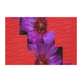 Red Silken Fabric FLOWER Strips: NOVINO Graphics Gallery Wrap Canvas