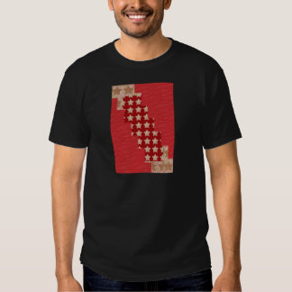 Red silky pattern ACROSS STEP GRAPHIC ART MULTI IM T-shirts
