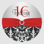 Red, Silver, and Black Damask Sweet 16 Sticker