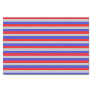 Red, Silver and Blue Stripes Tissue Paper