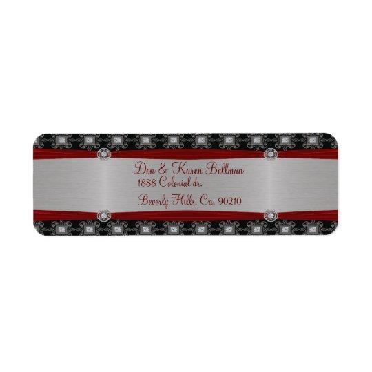 Red Silver Black Ornate Elegance Return Address Label
