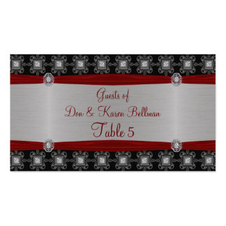 Red Silver Black Ornate Elegance Table Business Card Templates