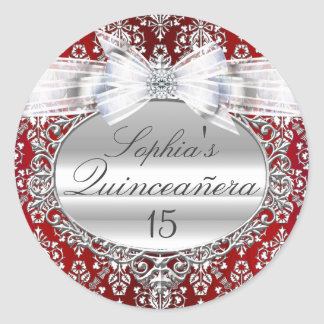 Red & Silver Bow Quinceanera Sticker
