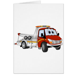 Red Silver Cartoon Tow Truck Card