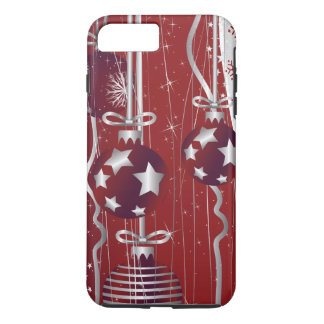 Red, silver Christmas balls, stars and snowflakes iPhone 7 Plus Case