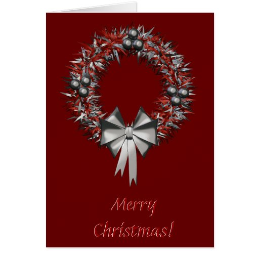 Red&Silver Christmas Wreath Holiday Greeting Card