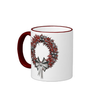 Red & Silver Christmas Wreath Holiday Mug