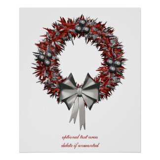 Red & Silver Christmas Wreath Holiday Poster