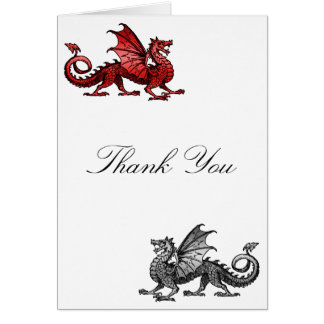 Red Silver Dragon Thank You Card