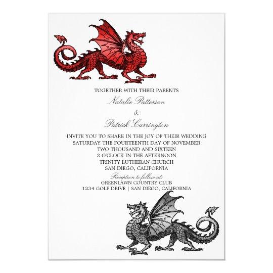 Red Silver Dragon Wedding Invite