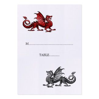 Red Silver Dragon Wedding Place Card Pack Of Chubby Business Cards