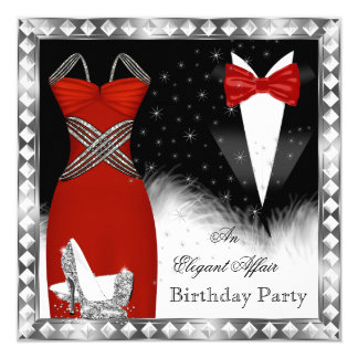 Red Silver Dress Black Tie Birthday Party 2 Card
