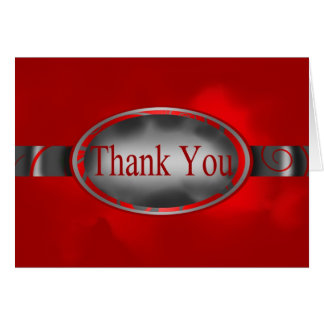 Red Silver Floral Button Thank You Card