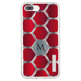 Red & Silver Geometric Design Monogram Incipio DualPro Shine iPhone 8 Plus/7 Plus Case