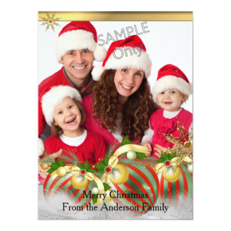 "Red Silver Gold Baubles Christmas Party Photo 6.5"" X 8.75"" Invitation Card"