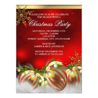 Red Silver Gold Holly Baubles Christmas Party 3 17 Cm X 22 Cm Invitation Card