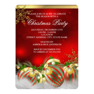 """Red Silver Gold Holly Baubles Christmas Party 3 6.5"""" X 8.75"""" Invitation Card"""
