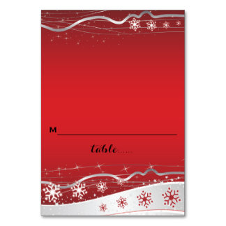 Red, silver grey snowflake wedding place card table cards