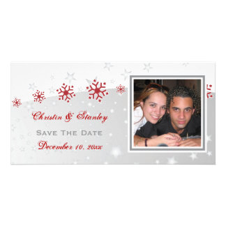 Red silver grey snowflake wedding Save the Date Card