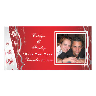Red, silver grey snowflake wedding Save the Date Card