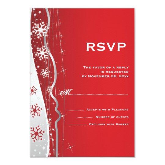 Red, silver grey snowflake winter wedding RSVP Card