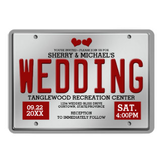 Red/Silver License Plate Wedding 13 Cm X 18 Cm Invitation Card