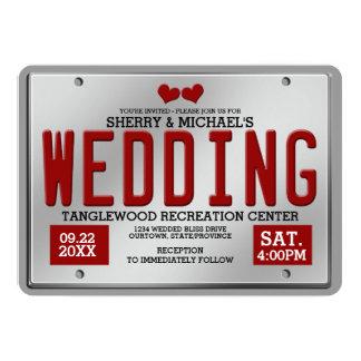 Red/Silver License Plate Wedding 13 Cm X 18 Cm Invitation Card