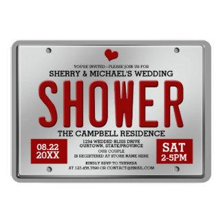 Red/Silver License Plate Wedding Shower Invitation