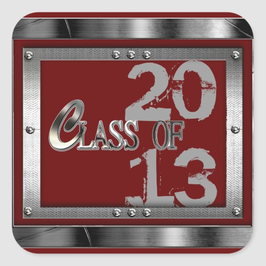 Red/Silver Metal Look Any Year Graduation Stickers
