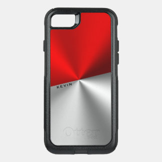 Red & Silver Modern Geometric Design OtterBox Commuter iPhone 8/7 Case