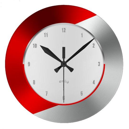Red & Silver Modern Metallic Geometric design Wall Clocks