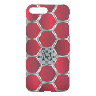 Red & Silver Octagonal Geometric Pattern iPhone 8 Plus/7 Plus Case