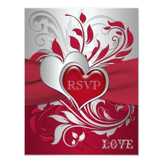 Red, Silver Scrolls, Hearts RSVP Card