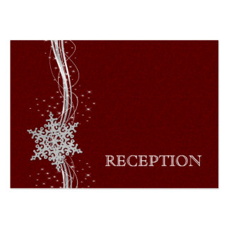 red Silver Snowflakes wedding reception invite Business Cards