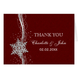 red Silver Snowflakes Winter wedding Thank You Cards