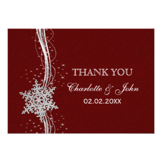 red Silver Snowflakes Winter wedding Thank You Custom Invitation