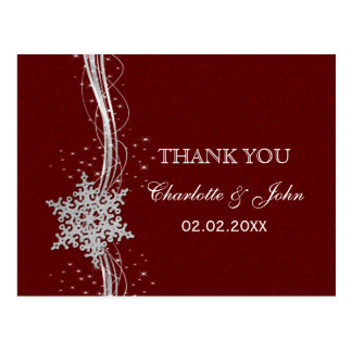 red Silver Snowflakes Winter wedding Thank You Post Card