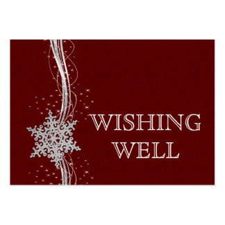 red Silver Snowflakes Winter wedding wishing well Business Cards