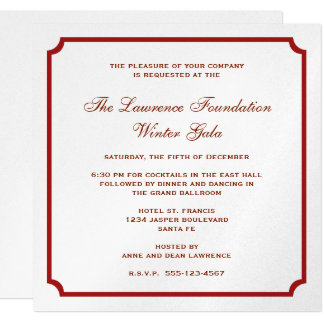 Red silver square frame corporate holiday formal 13 cm x 13 cm square invitation card