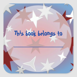 Red Silver Stars Bookplate Stickers