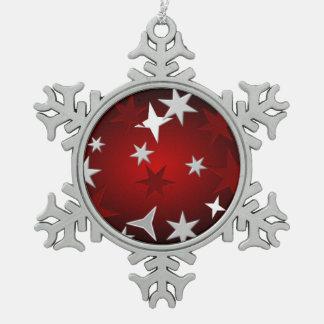 Red Silver Stars Snowflake Ornament
