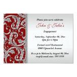 Red silver swirl engagement anniversary CUSTOM 13 Cm X 18 Cm Invitation Card