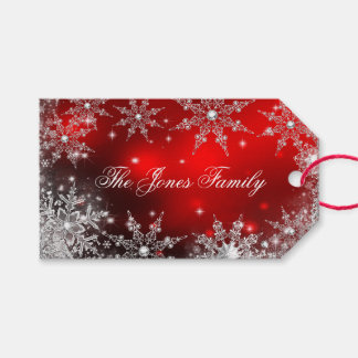 Red Silver Winter Wonderland Christmas 2 Gift Tags