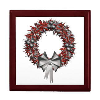 Red & Silver Wreath Ceramic Tile Inlaid Gift Boxes