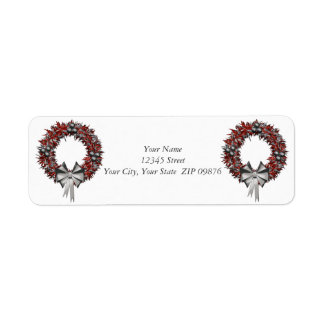 Red & Silver Wreath Holiday Address Labels