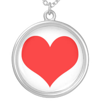 Red Simple Heart Valentines Day Love Romantic Round Pendant Necklace