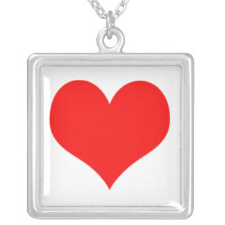 Red Simple Heart Valentines Day Love Romantic Square Pendant Necklace