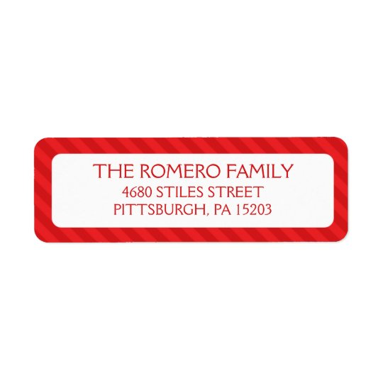 Red Simple Stripes Custom Personalised Return Address Label