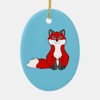 Red Sitting Fox Kit with Dark Markings Ceramic Oval Decoration