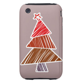 Red Sketchy Christmas Tree 3G/3GS Case-Mate Tough iPhone 3 Covers